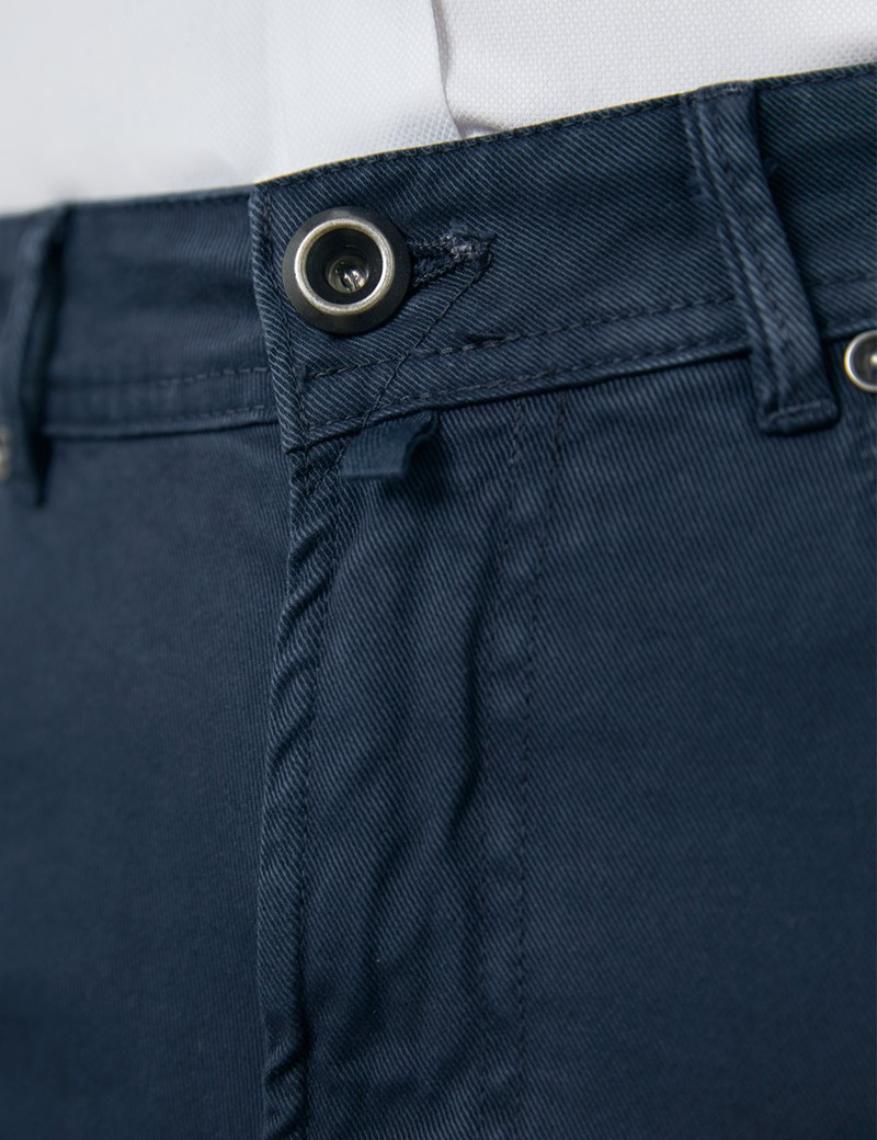 Men's Italian Navy Garment Dye 5 Pocket Pants
