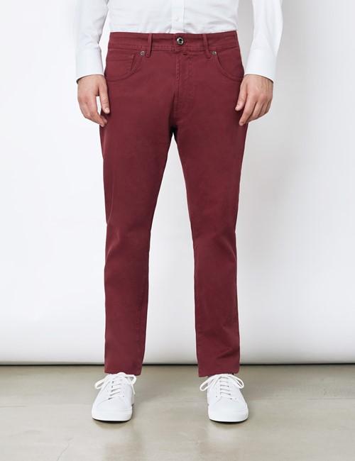 Men's Italian Bordeaux Garment Dye 5 Pocket Pants