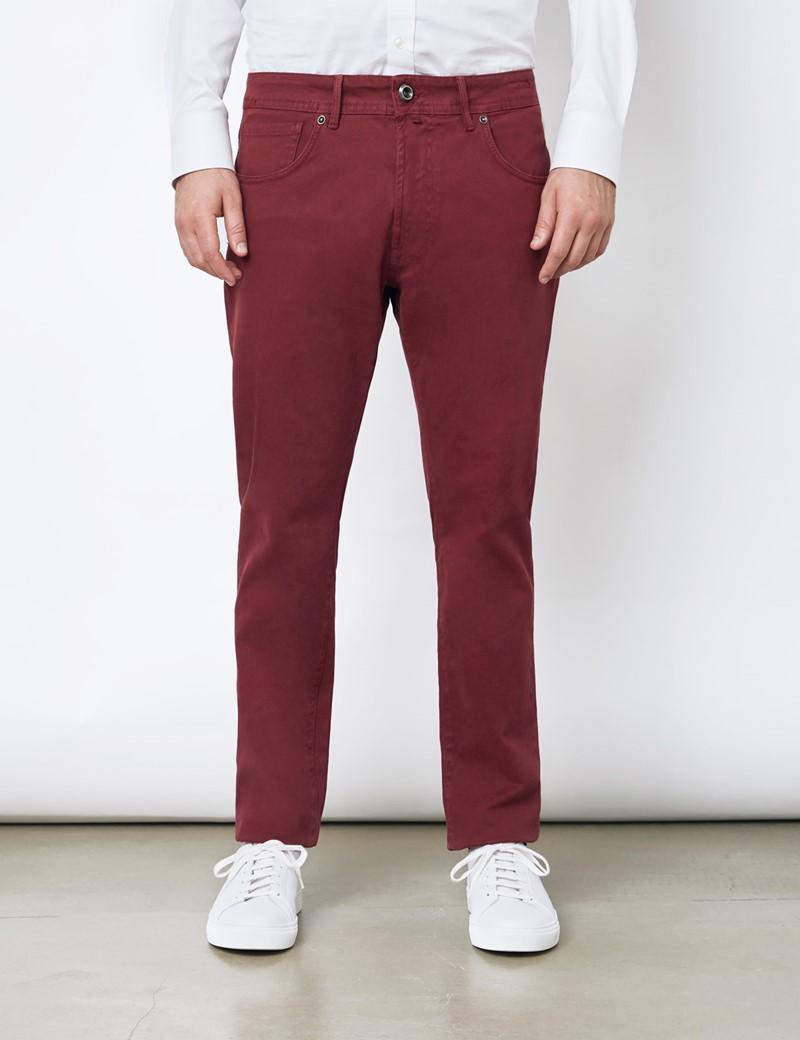 Men's Italian Bordeaux Garment Dye 5 Pocket Trousers