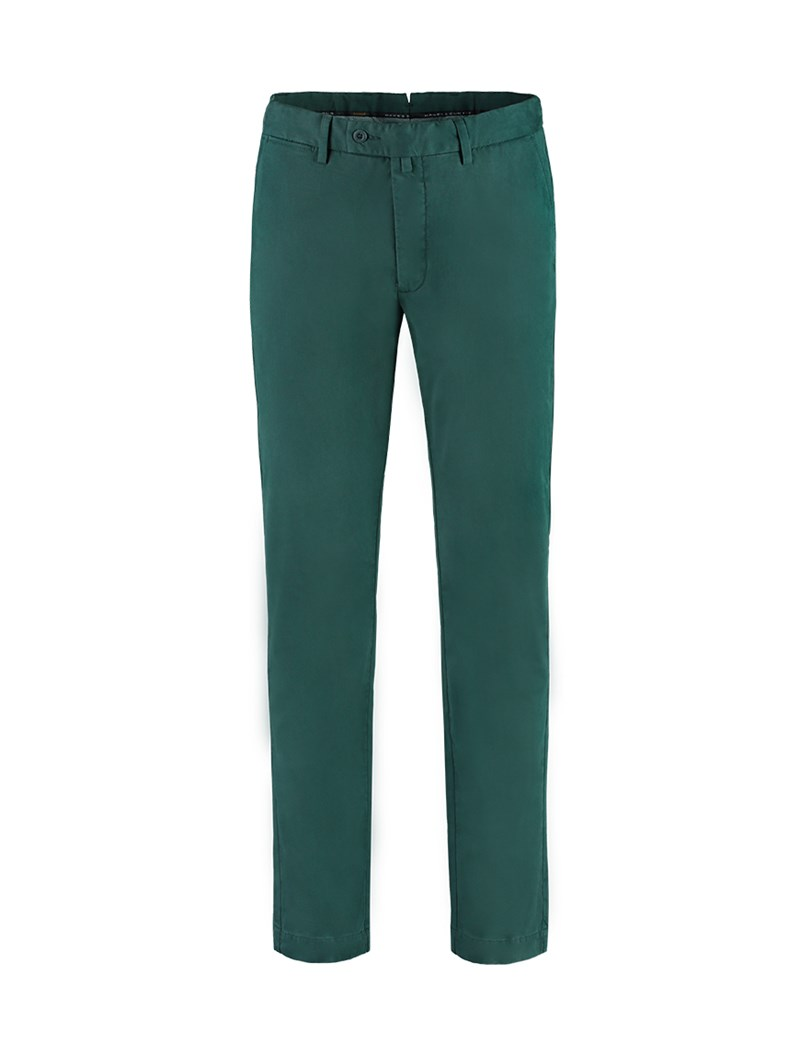 Men's Dark Green Garment Dye Chinos - Slim Fit