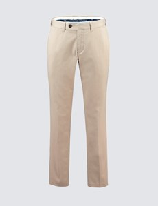 Men's Stone Beige Garment Dye Regular Fit Chinos