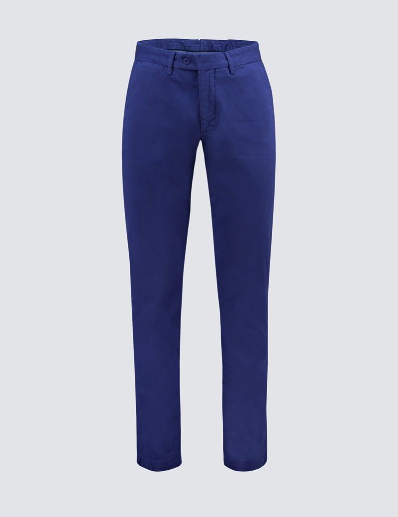 Men's Blue Garment Dye Slim Fit Chinos