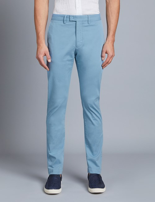 Herren Chino – Slim Fit – Garment Dye – Eisblau