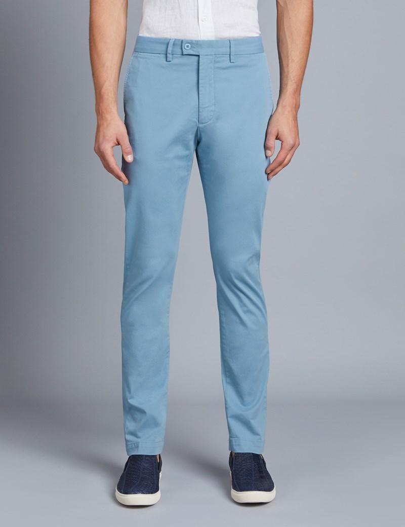 Herren Chino – Slim Fit – Garment Dye – Eisblau