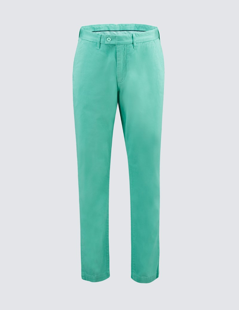 Men's Green Garment Dye Slim Fit Chinos