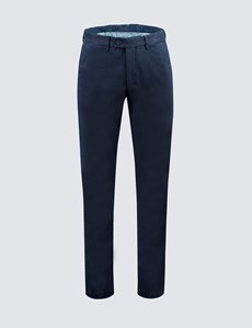 Men's Navy Garment Dye Chinos - Slim Fit