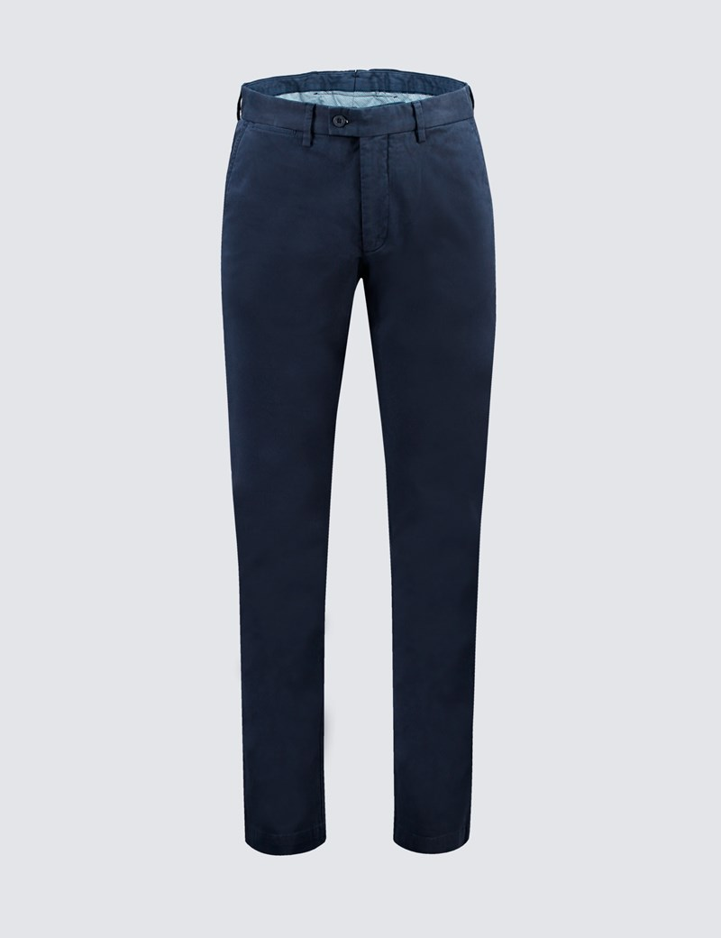 Men's Navy Garment Dye Chinos - Slim Fit