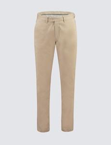 Men's Beige Garment Dye Slim Fit Chinos