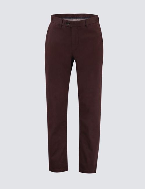 Men's Claret Garment Dye Slim Fit Chinos