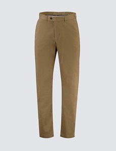 Men's Tan Garment Dye Chinos -  Slim Fit