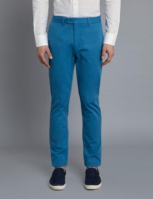 Men's Dark Turquoise Garment Dye Slim Fit Chinos