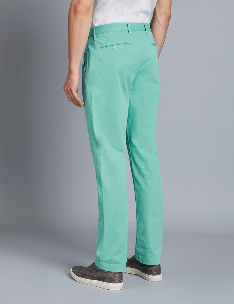 Men's Green Garment Dye Classic Fit Chinos