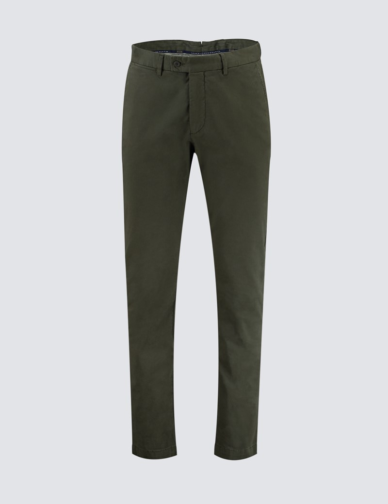 Men's Khaki Garment Dye Classic Fit Chinos