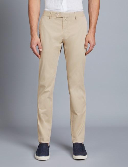 Men's Beige Garment Dye Classic Fit Chinos
