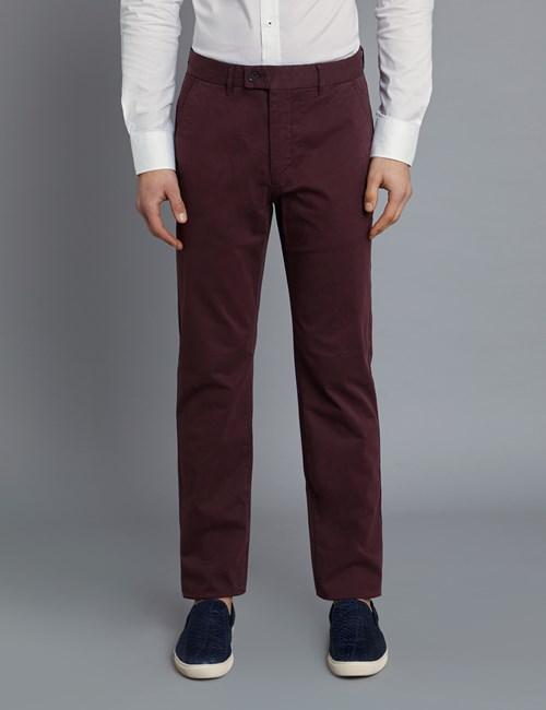 Herren Chino – Classic Fit – Garment Dye – Weinrot