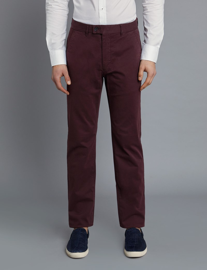 Men's Claret Garment Dye Classic Fit Chinos