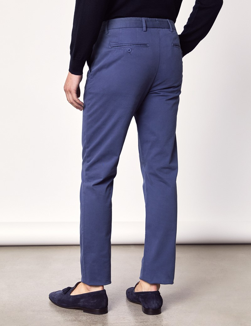 Men's Dark Blue Garment Dye Slim Fit Chinos