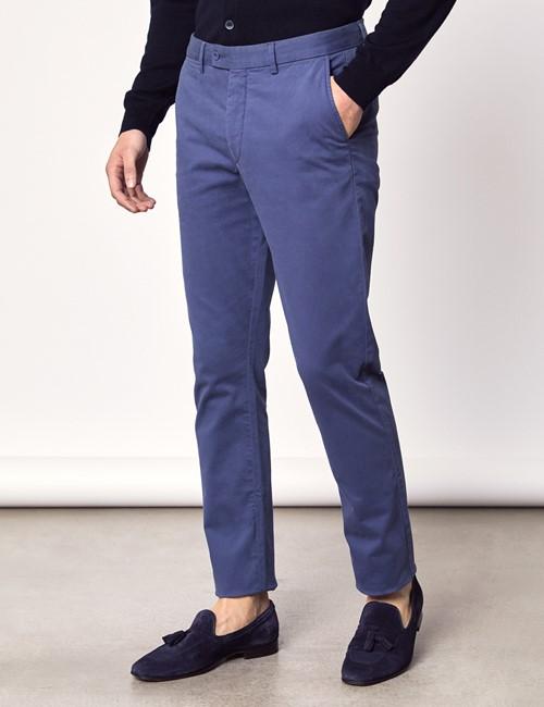 Men's Dark Blue Garment Dye Slim Fit Chinos