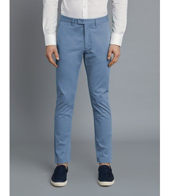 Men's Light Blue Garment Dye Slim Fit Chinos