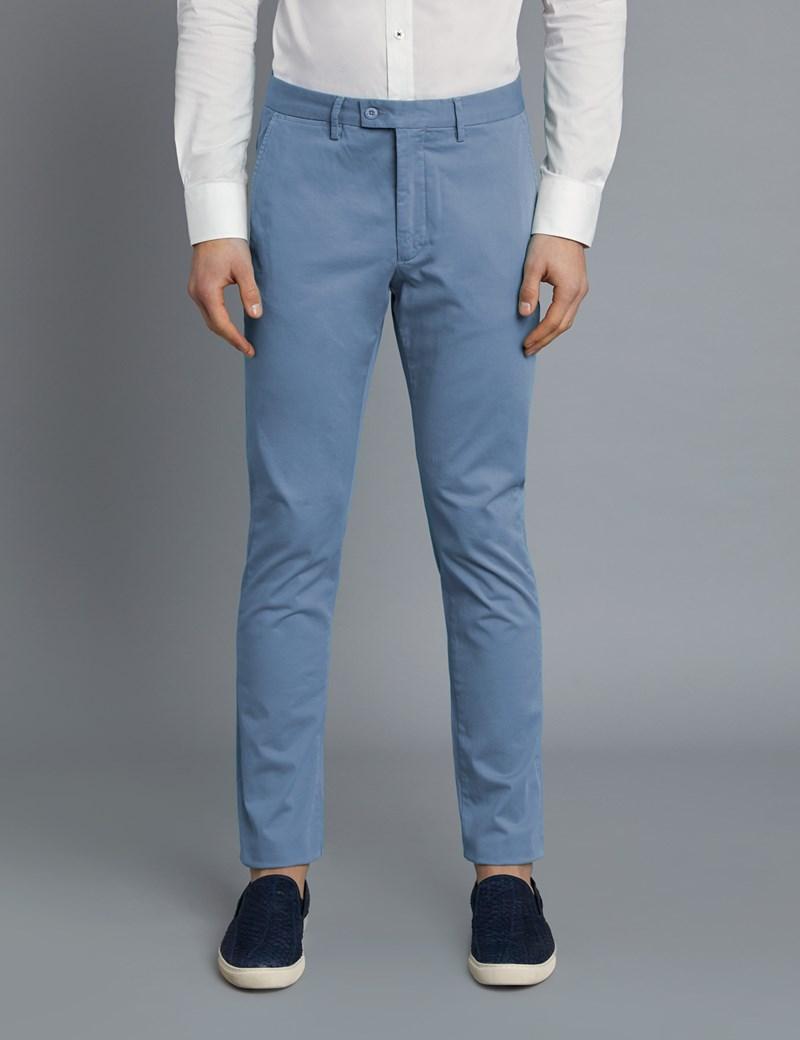 Men's Light Blue Garment Dye Slim Fit Chinos