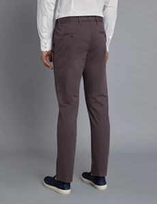 Men's Brown Garment Dye Slim Fit Chinos