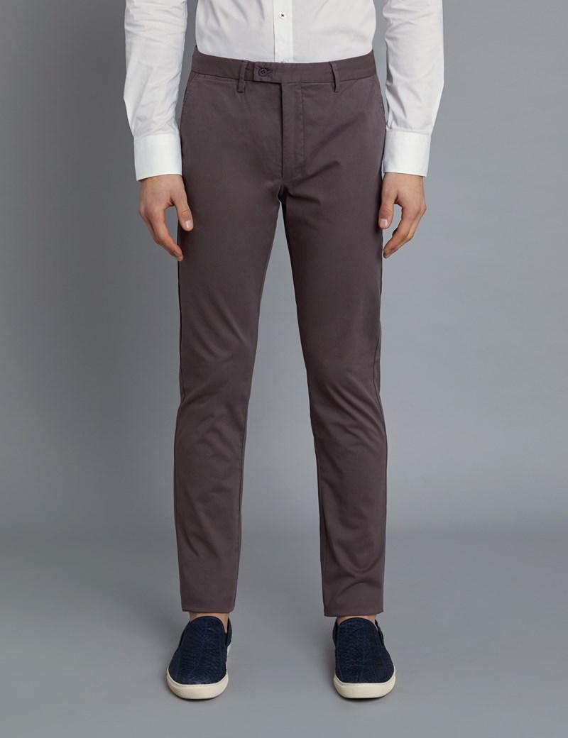 Men's Brown Garment Dye Slim Fit Chinos