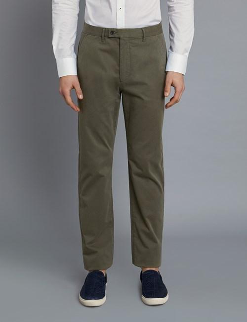 Herren Chino – Slim Fit – Garment Dye – Khakigrün