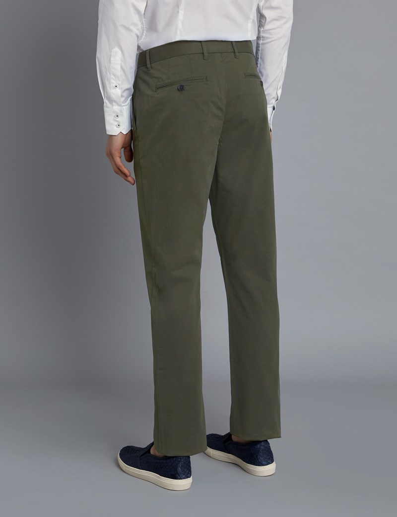 Men's Dark Green Garment Dye Slim Fit Chinos