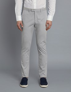 Men's Grey Garment Dye Slim Fit Chinos