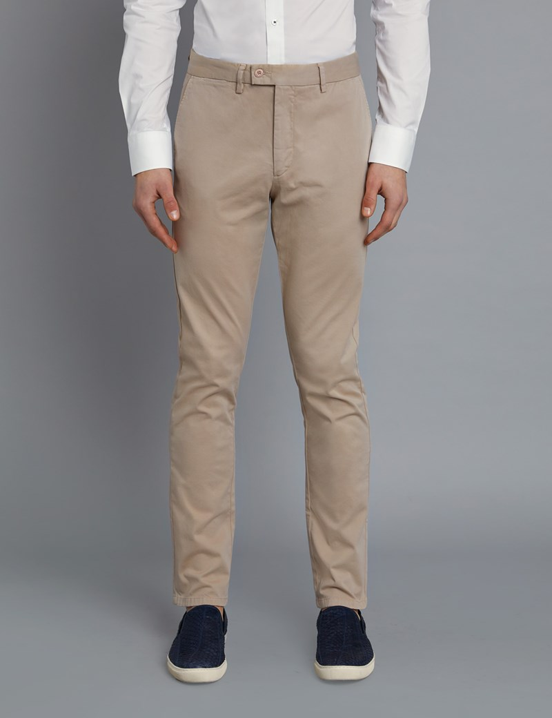 Men's Beige Garment Dye Slim Fit Chinos