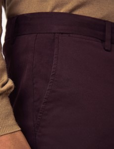 Men's Claret Garment Dye Slim Fit Chinos