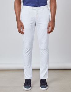 Men's White Plain Slim Fit Chinos