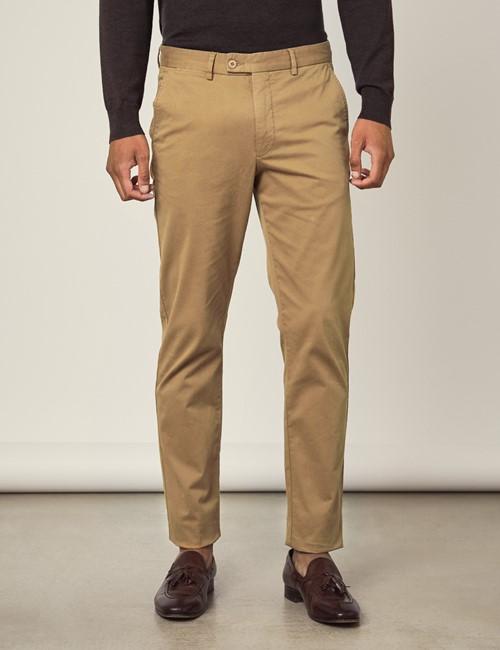 Men's Tan Garment Dye Slim Fit Chinos