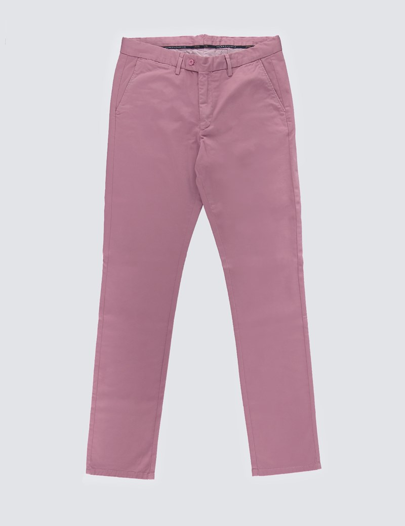 Men's Dark Rose Garment Dye Slim Fit Chinos