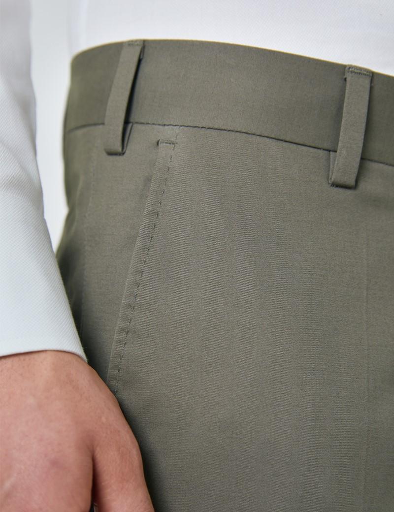 Men's Olive Slim Fit Smart Chinos