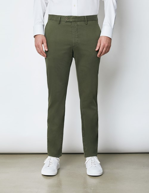 Herren Chino – Slim Fit – Bio-Baumwolle – waldgrün