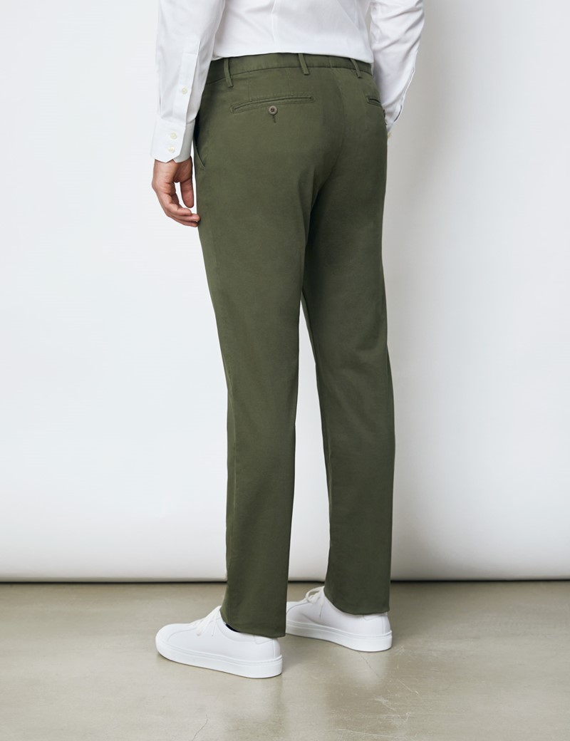 Men's Organic Cotton Stretch Forest Green Chinos