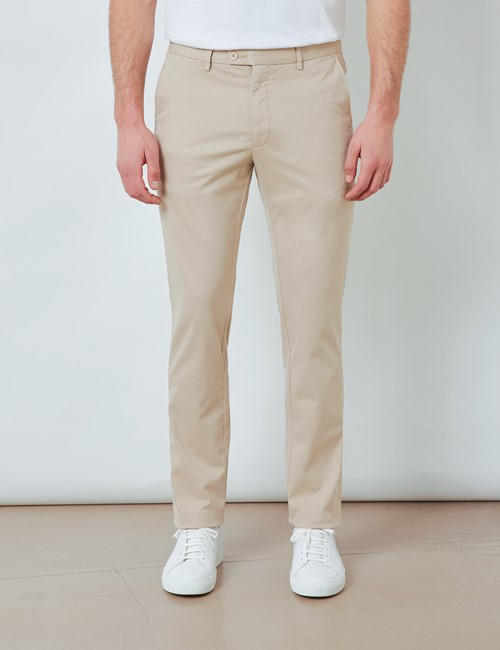 Men's Organic Cotton Stretch Beige Chinos