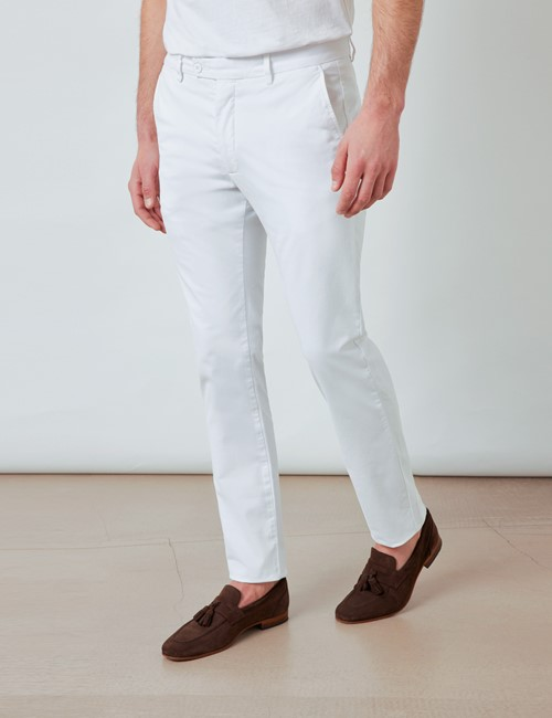 Men's Organic Cotton Stretch White Chinos