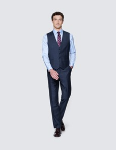Men's Blue & Purple Prince Of Wales Check Tailored Fit Italian Waistcoat - 1913 Collection