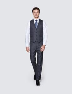 Men's Dark Grey Windowpane Check Tailored Fit Italian Waistcoat - 1913 Collection