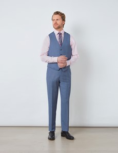 Men's Blue Prince Of Wales Check Tailored Fit Italian Waistcoat - 1913 Collection