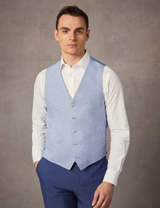Men's Light Blue Check Tailored Fit Italian Waistcoat – 1913 Collection