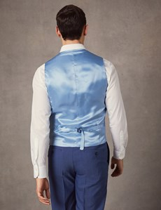 1913 Kollektion – Weste – Tailored Fit – Leinenmix – Hellblau gemustert