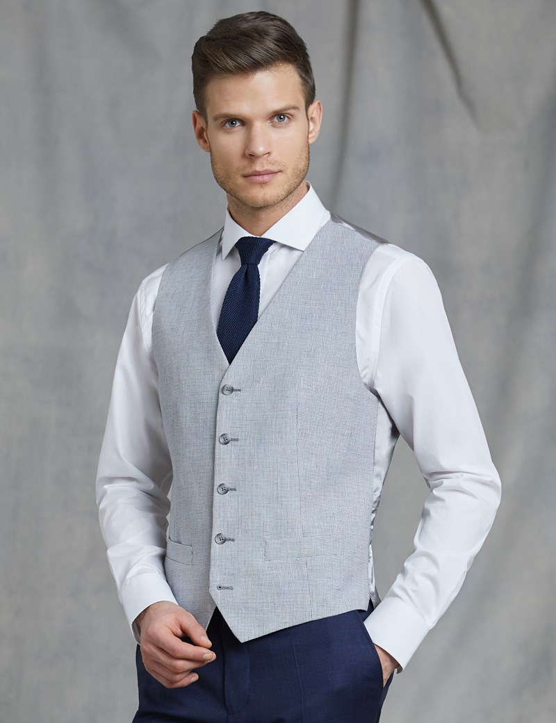 Men's Stone Check Tailored Fit Italian Waistcoat – 1913 Collection