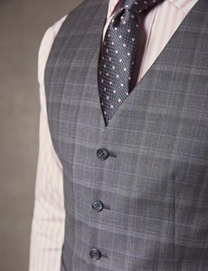 Men's Grey & Blue Prince Of Wales Plaid Tailored Fit Italian Vest – 1913 Collection