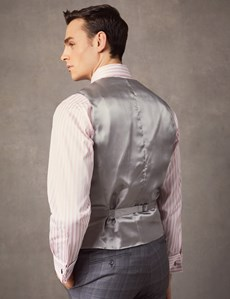 Men's Grey & Blue Prince Of Wales Check Tailored Fit Italian Waistcoat – 1913 Collection