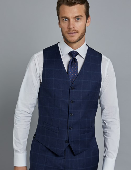 Men's Navy & Blue Windowpane Plaid Slim Fit Italian Vest – 1913 Collection
