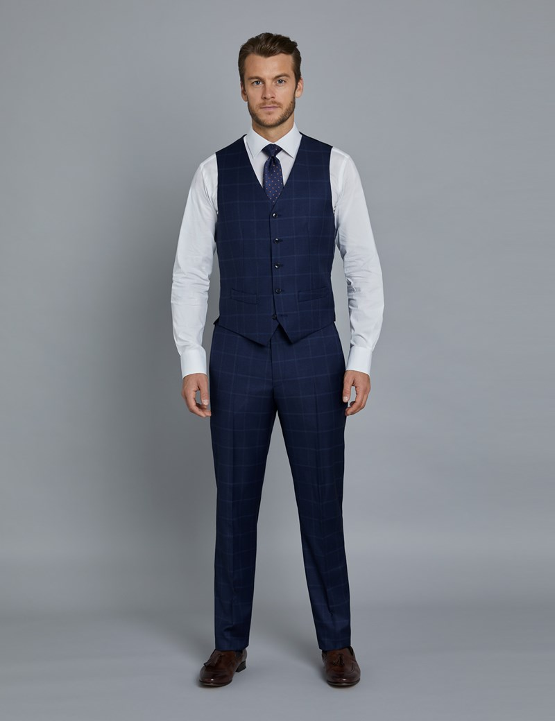 Men's Navy & Blue Windowpane Check Slim Fit Italian Waistcoat – 1913 Collection