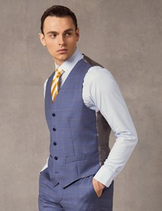 Men's Mid Blue Ombre Check Tailored Fit Italian Waistcoat – 1913 Collection